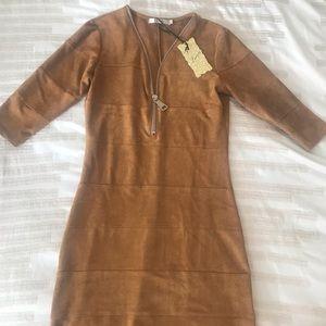 Velvet tan dress with front zipper.